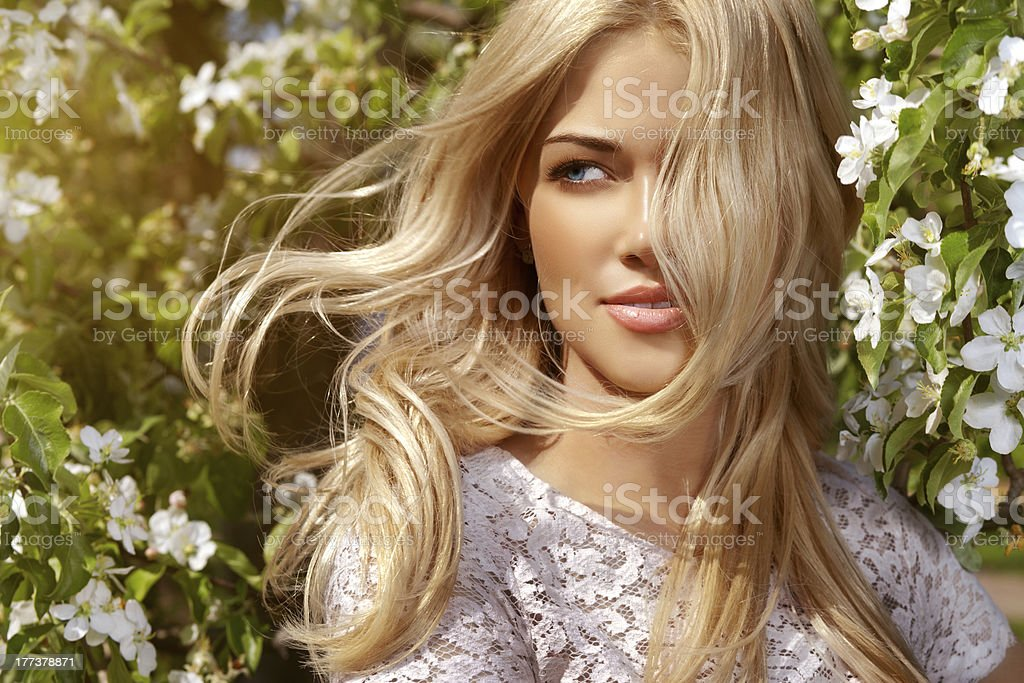 Shiny portrait of beautiful happy woman stock photo