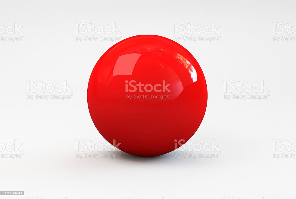 A shiny red ball with shadow on a white background stock photo