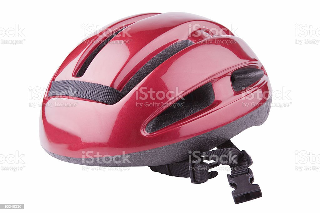 A shiny red bicycle helmet on a white background stock photo