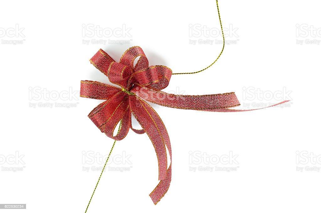 Shiny red ribbon isolated stock photo