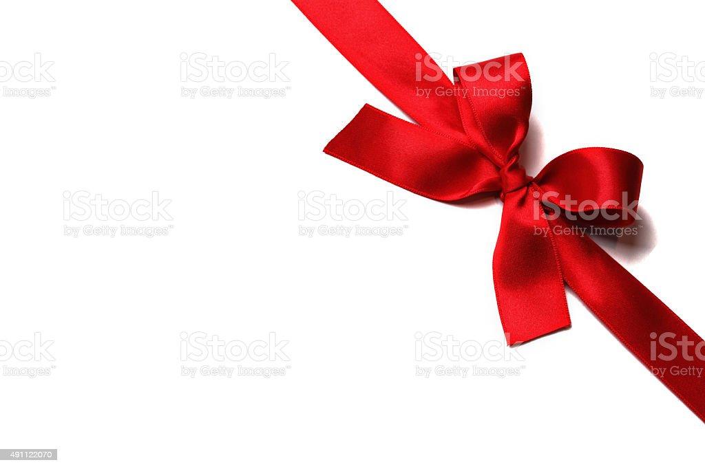 Shiny red satin ribbon stock photo