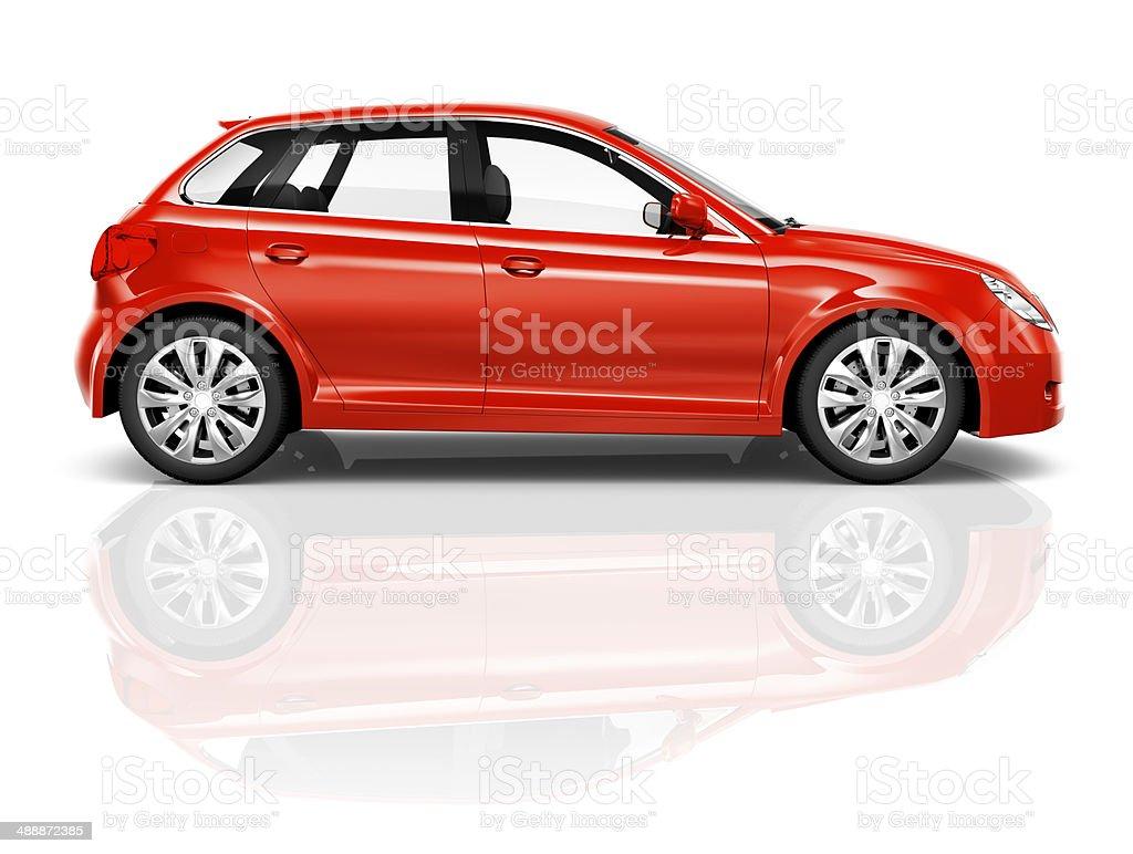 Shiny Red Sedan Studio Shot stock photo