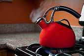Shiny Red Tea Pot