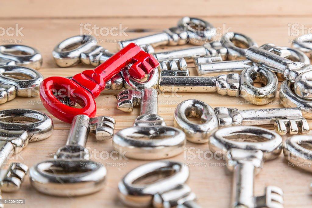 shiny red vintage key on an array different keys. stock photo