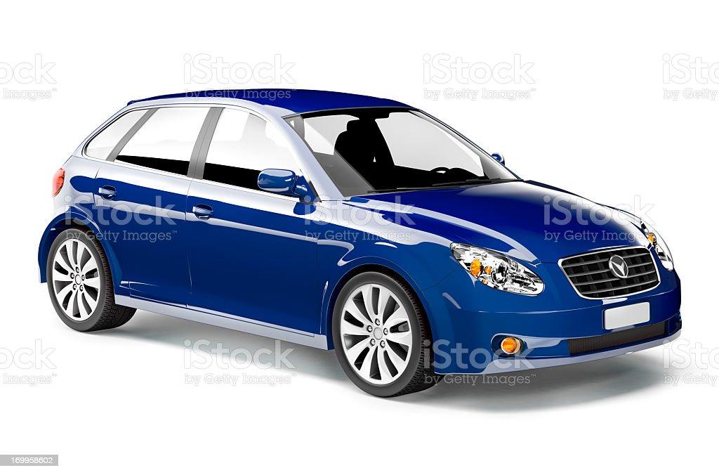 Shiny royal blue midsize car with black interior stock photo
