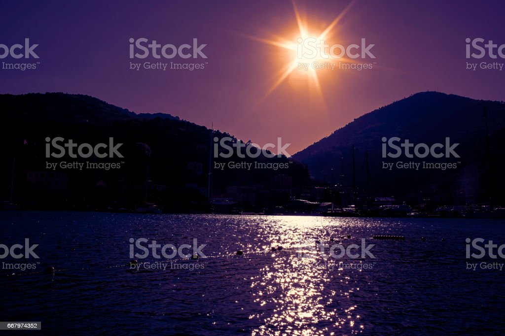 Shiny Sea, Le Grazie di Portovenere stock photo