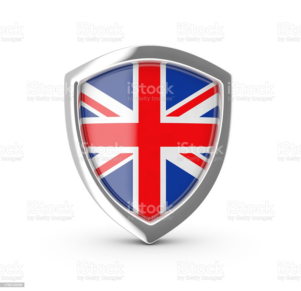 Shiny shield with the British flag. royalty-free stock vector art
