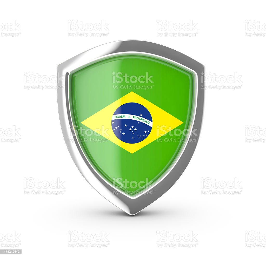 Shiny shield with the flag of Brazil . royalty-free stock vector art