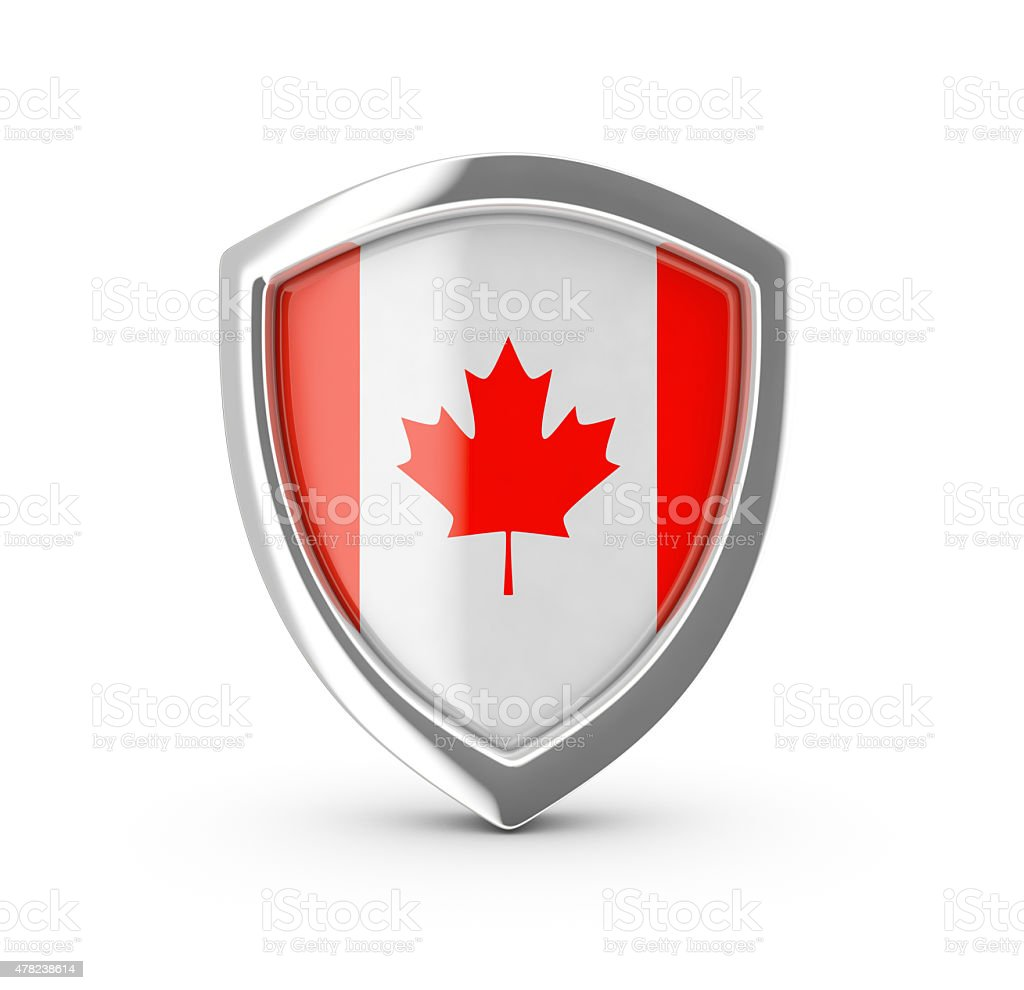 Shiny shield with the flag of Canada . royalty-free stock photo
