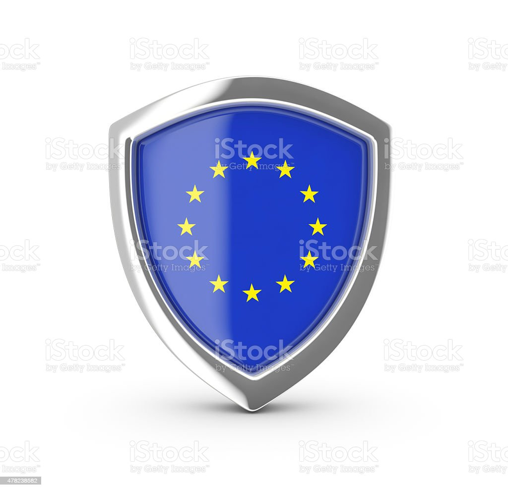 Shiny shield with the flag of EU. royalty-free stock vector art