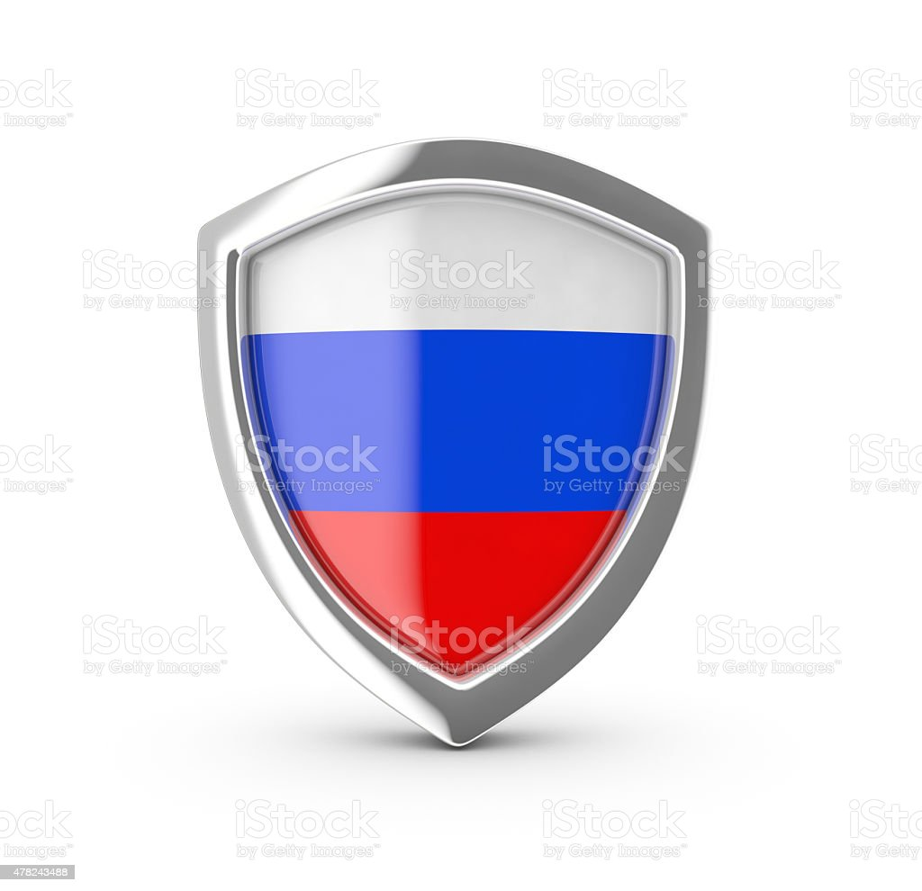 Shiny shield with the flag of Russia. royalty-free stock vector art