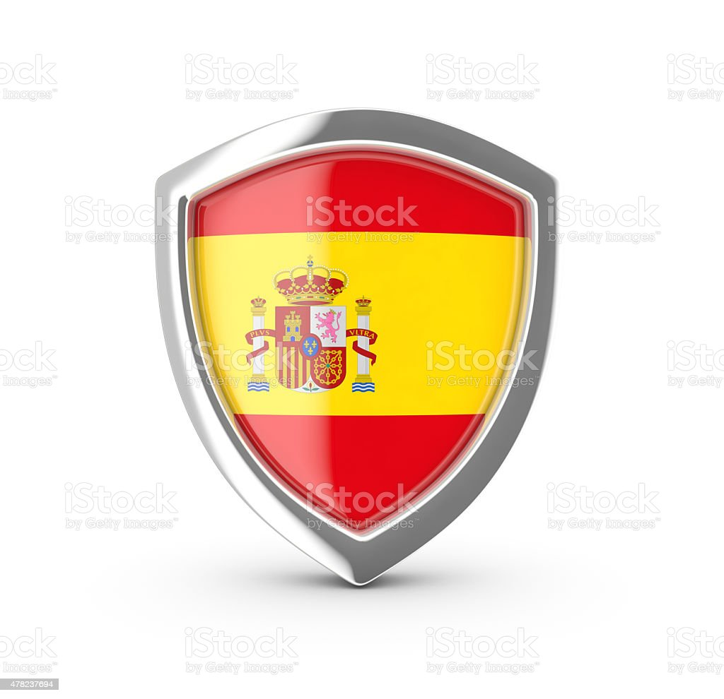 Shiny shield with the flag of Spain. royalty-free stock photo