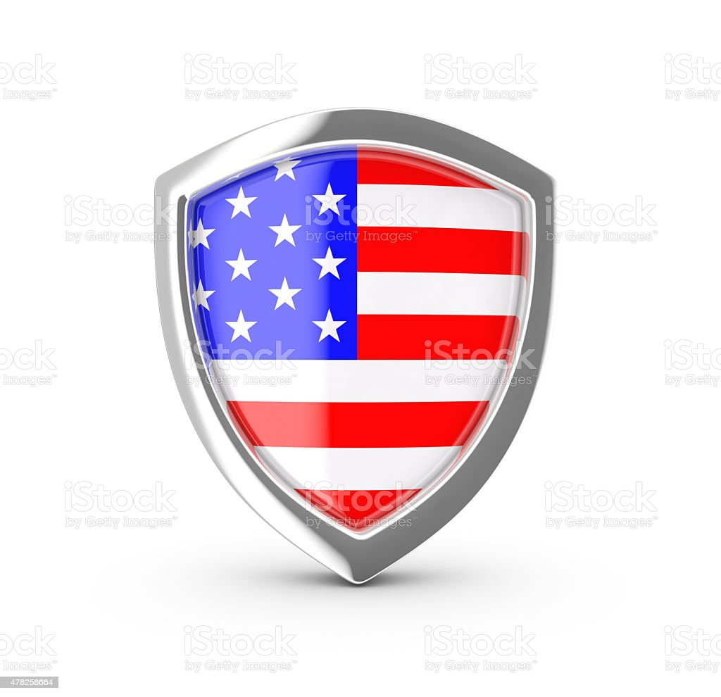 Shiny shield with the flag of USA. royalty-free stock vector art