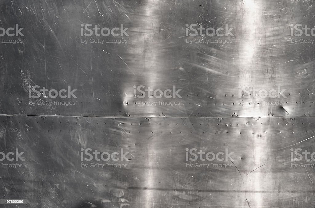 Shiny silver aluminum sheet metal stock photo