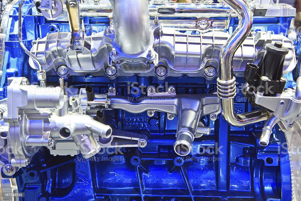 Shiny, silver and blue engine to a new car stock photo