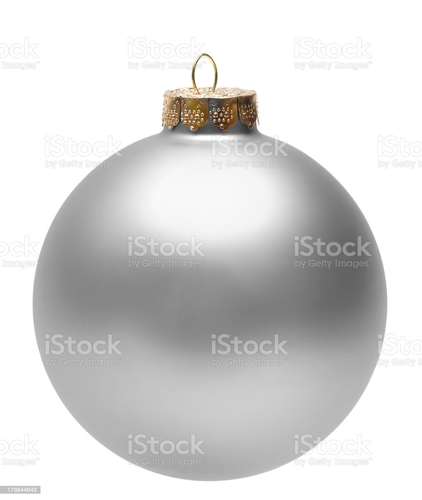 Shiny silver christmas tree ball ornament royalty-free stock photo