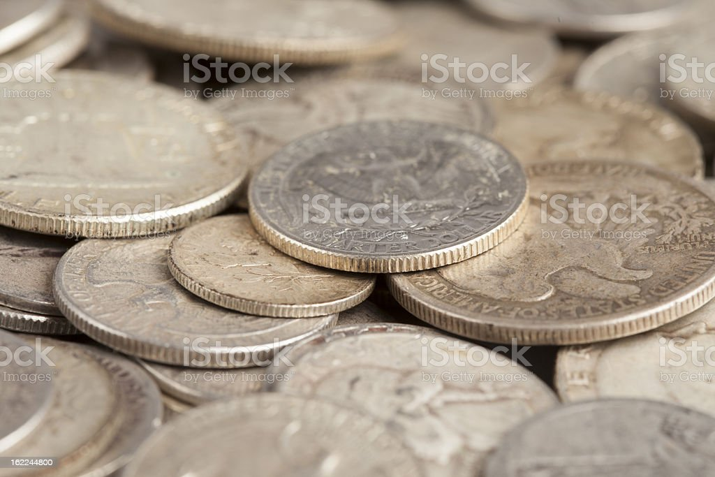 Shiny Silver Coins royalty-free stock photo