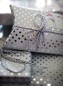 Shiny Silver Polka Dot Wrapped Presents