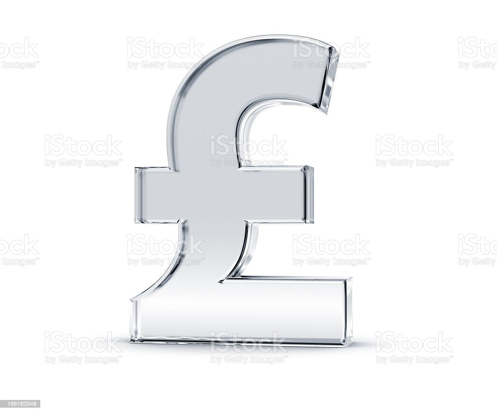 Shiny silver sterling pound symbol in white background stock photo