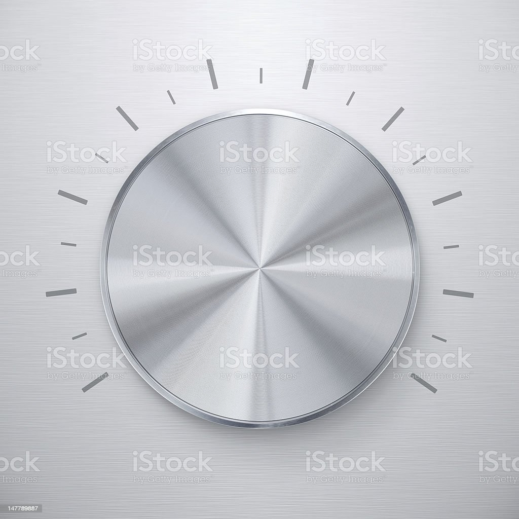Shiny silver volume knob stock photo