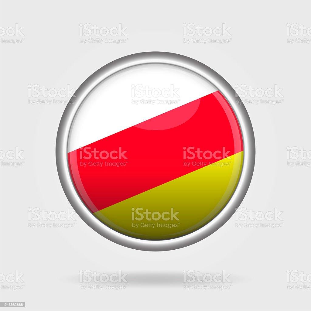 Shiny South Ossetia flag button stock photo