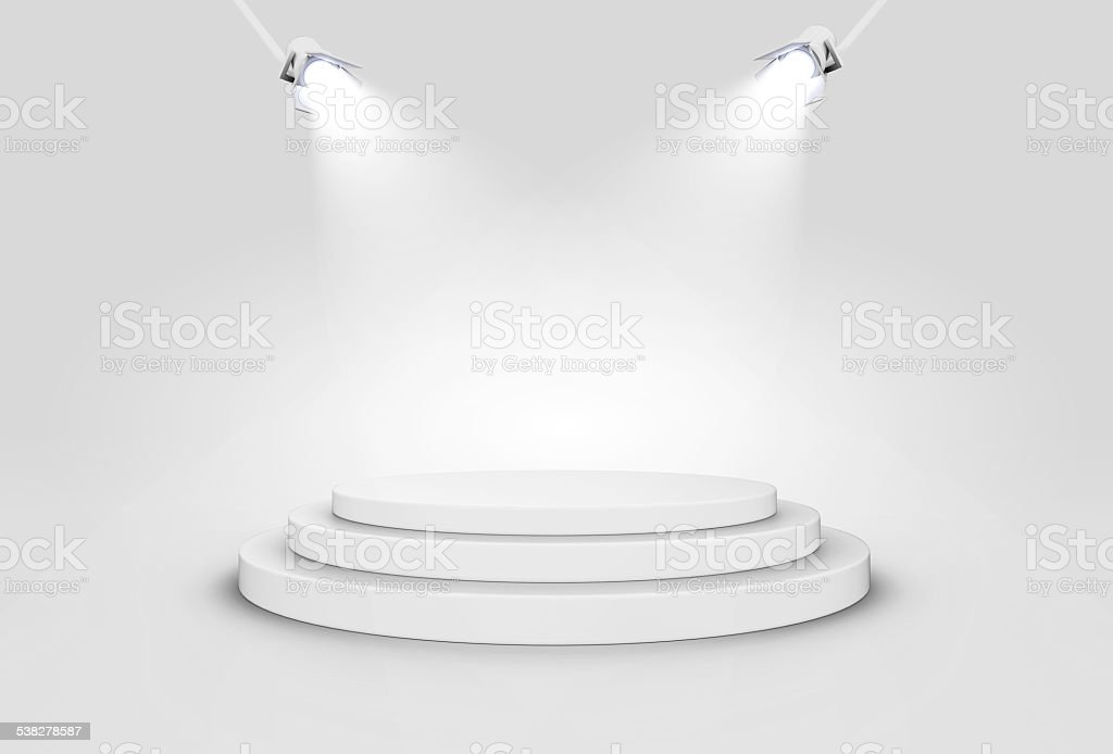 Shiny Stage Illuminated By Spotlights. stock photo