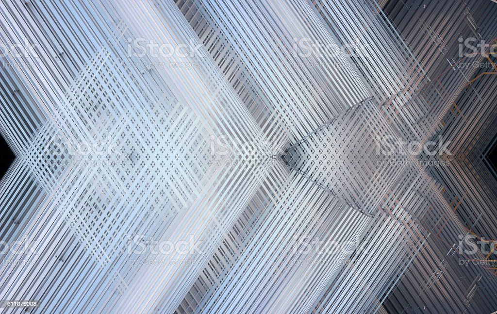 Shiny suspended metal ceiling with grid structure. Abstract interior background. stock photo