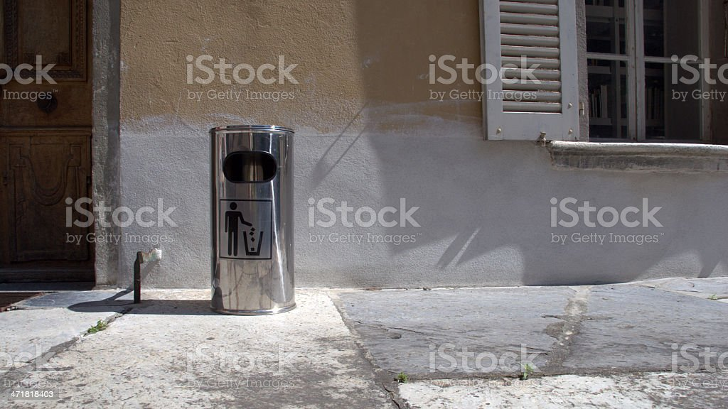 Shiny trash can in Sion (Valais, Switzerland) royalty-free stock photo