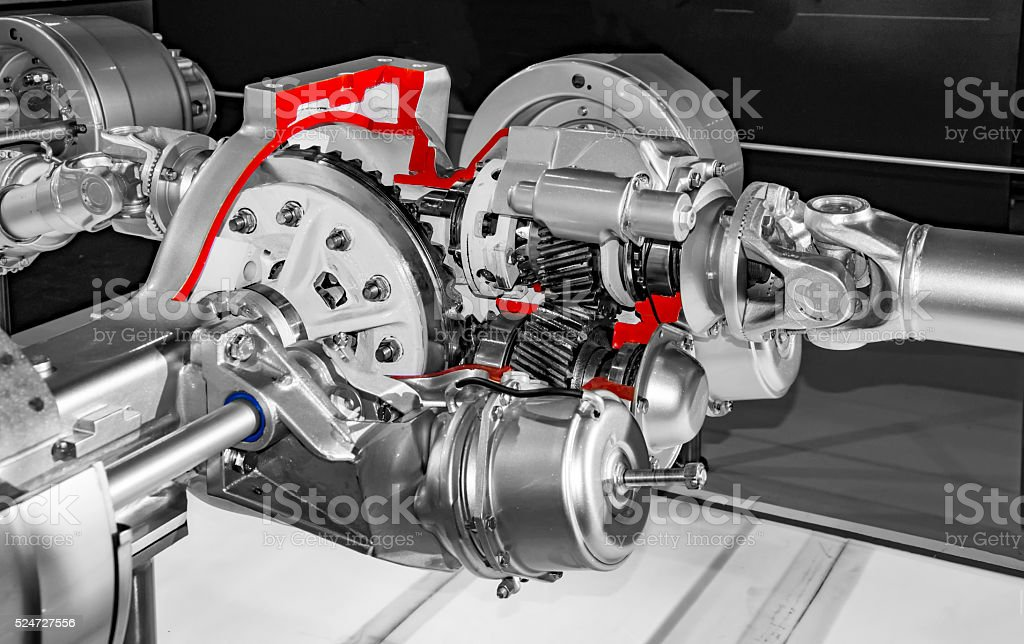 Shiny truck engine with axel stock photo
