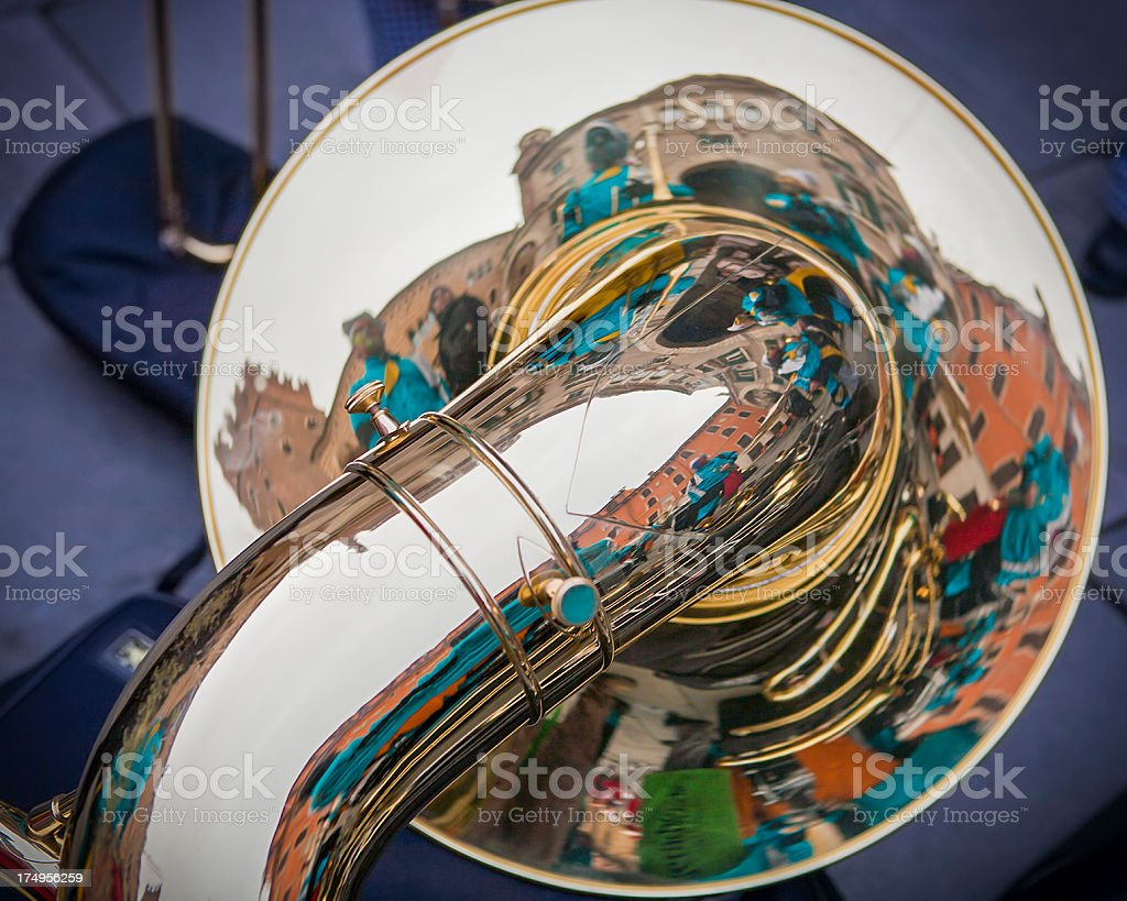 Shiny Tuba and Reflections stock photo