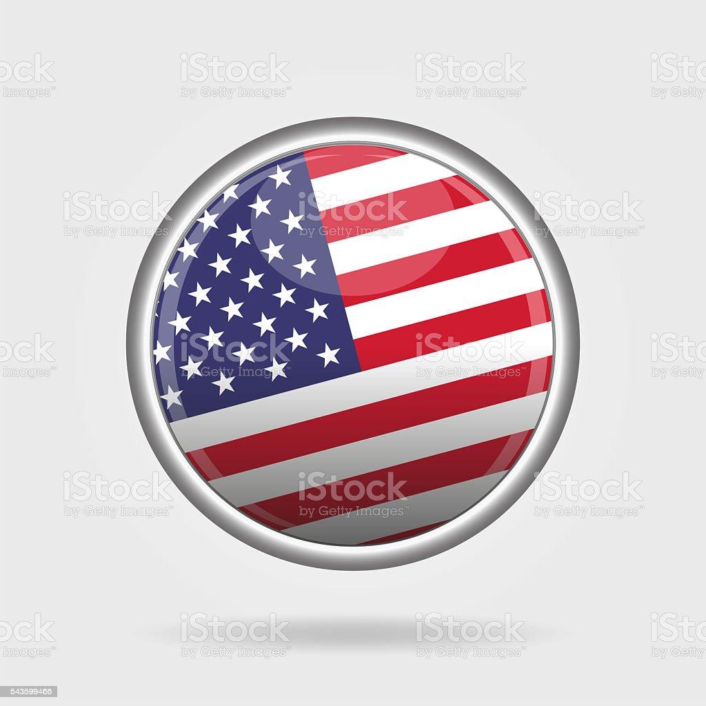 Shiny USA button stock photo