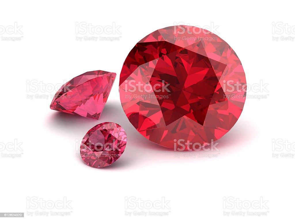 Shiny white ruby illustration (high resolution 3D image) stock photo