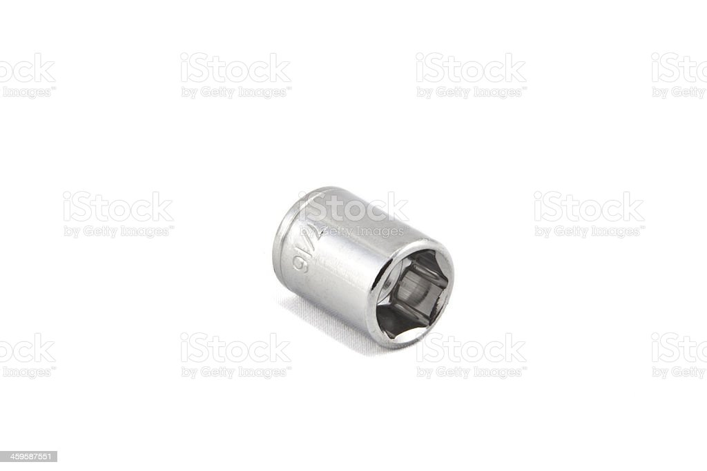 7/16 Shiny wrench socket stock photo