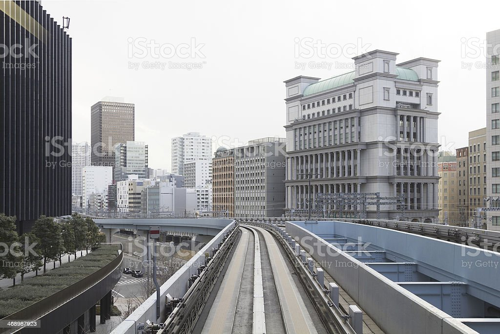 Shiodome district from monorail (Tokyo) royalty-free stock photo