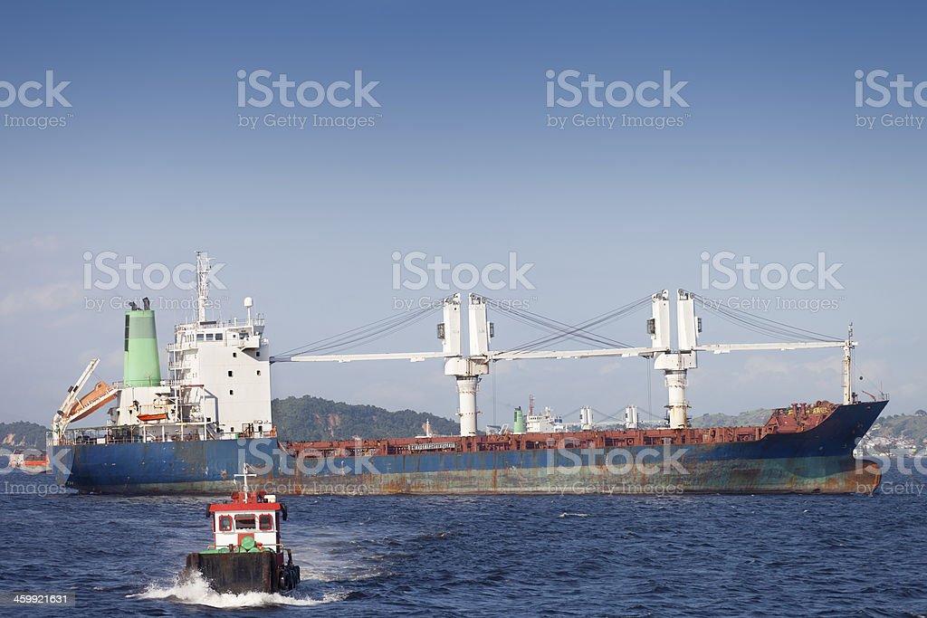 Ship anchored at Guanabara Bay in Rio royalty-free stock photo