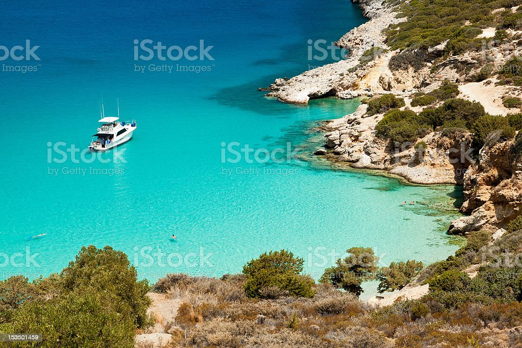 Ship anchored in the bay stock photo
