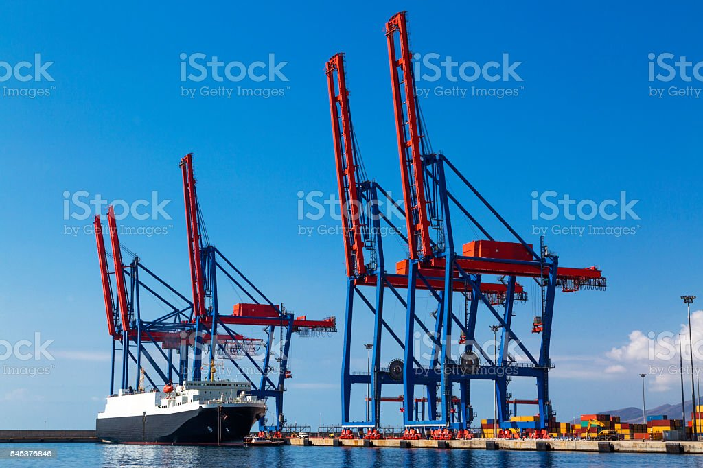 Ship anchored in the port stock photo