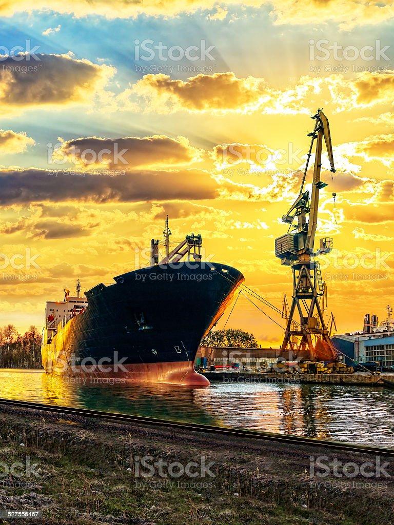 Ship and Crane stock photo