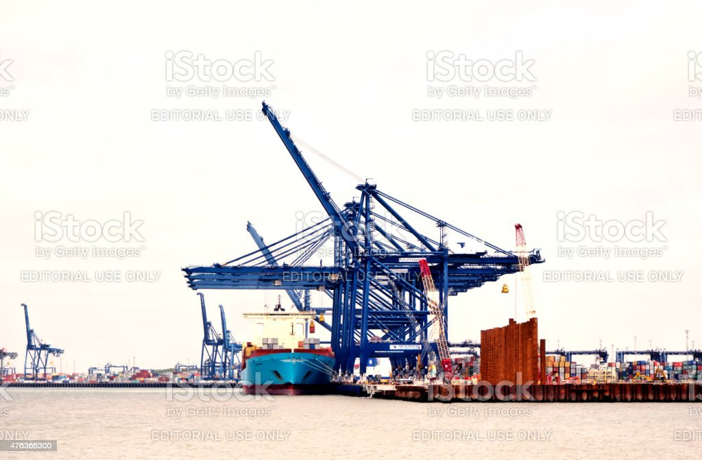 Ship and cranes, Port of Felixstowe (high key) stock photo