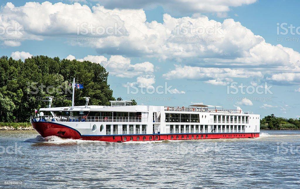 Ship and Danube river, travelling scene stock photo