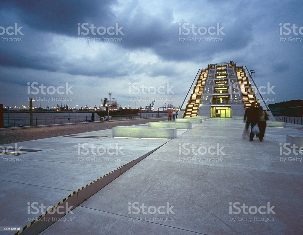 ship and office building royalty-free stock photo