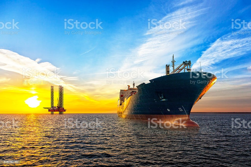 Ship and Oil Platform stock photo