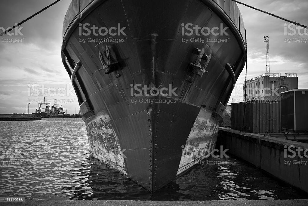Ship at harbor stock photo