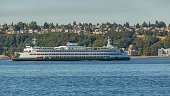 Ship at sea. Ferries Seattle
