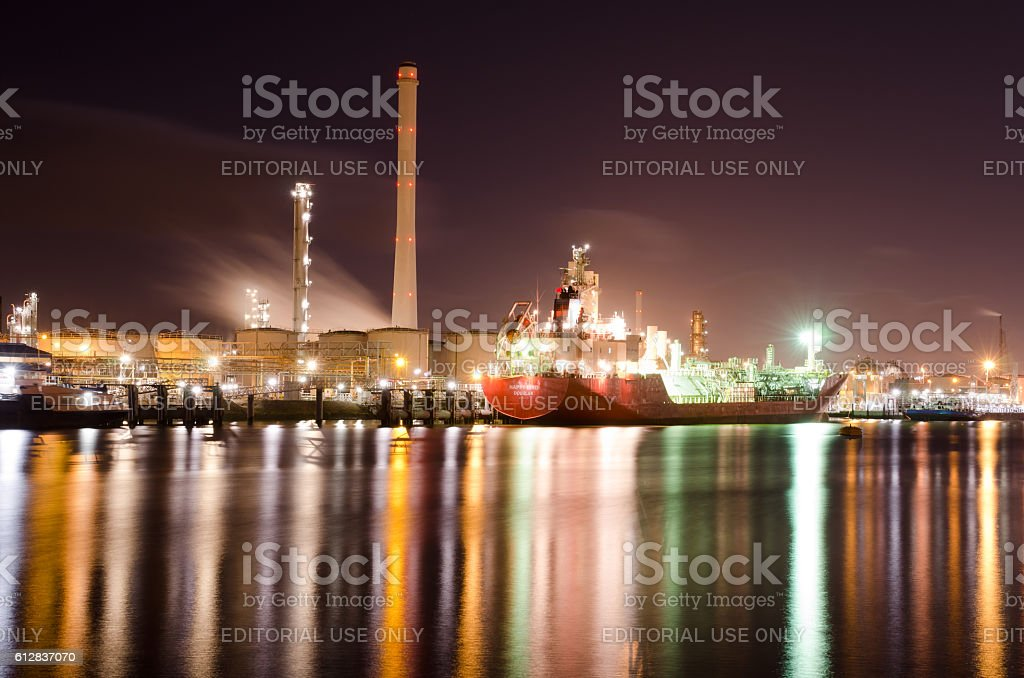 Ship at second oil port stock photo
