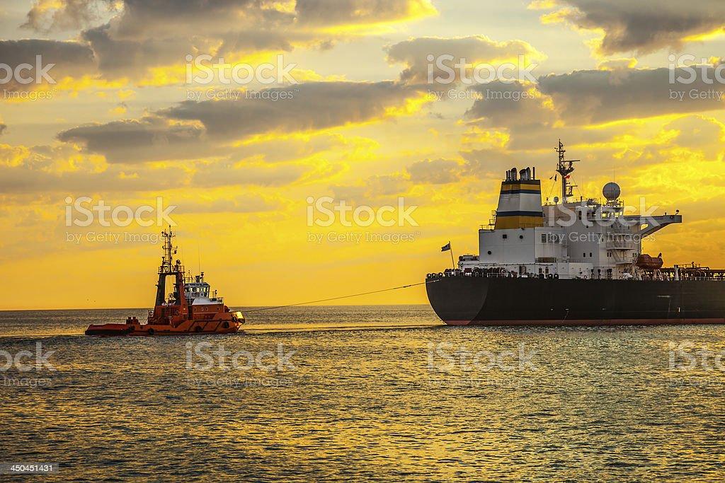 Ship at sunrise royalty-free stock photo