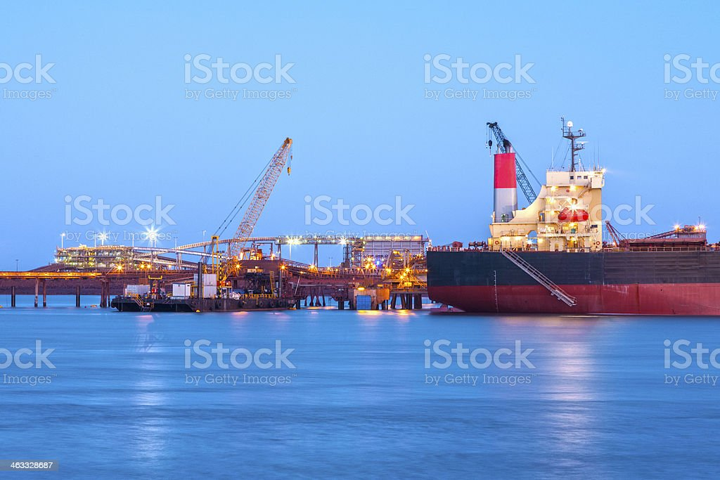A ship at the docks at sundown royalty-free stock photo