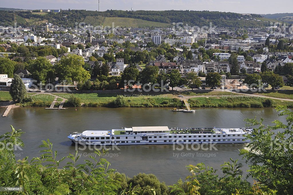 Ship at Treves, Moselle, Germany stock photo