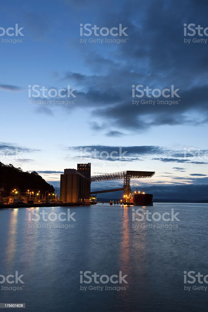 Ship Being Loaded At Grain Terminal In Tacoma Washington stock photo
