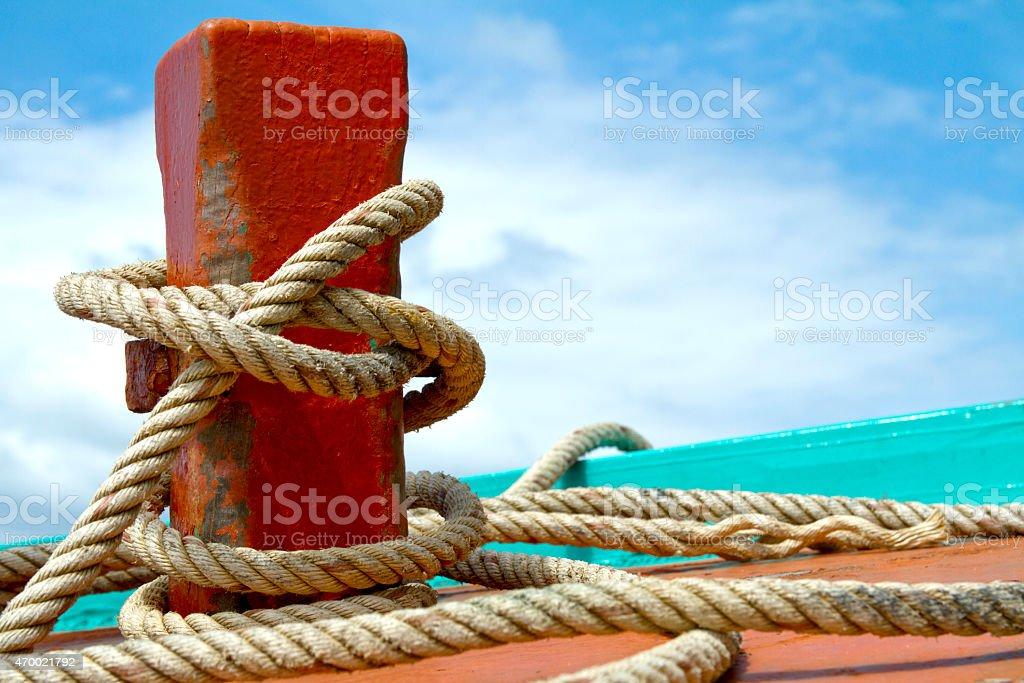 Ship bollard stock photo
